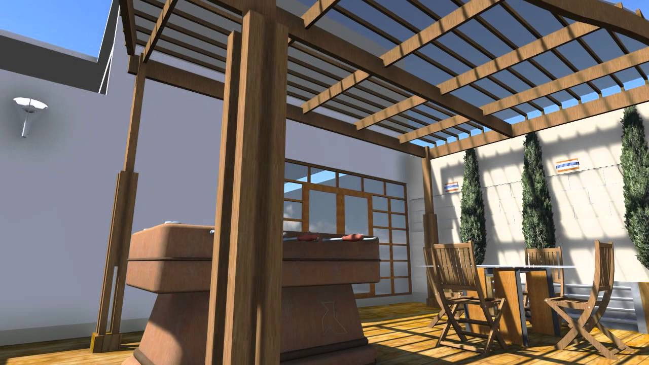 Proyecto dise o interior patio terraza youtube - Diseno patio interior ...