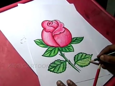 How To Draw Rose Flower Drawing For Kids Step By Step For Kids Youtube