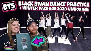 BTS (방탄소년단) 'Black Swan' Dance Practice [REACTION] AND UNBOXING 2020 BTS WINTER PACKAGE