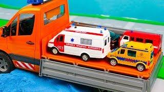 Мультфильм Специальные машины едут на помощь, Пожарная машина, Скорая помощь 309 Серия Мир Машинок