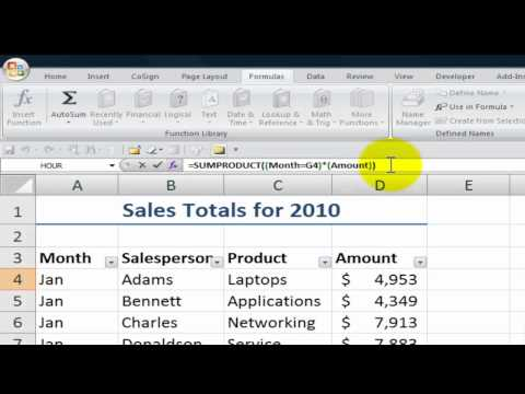 How to Use SUMPRODUCT To Total an Excel List Using Multiple Criteria