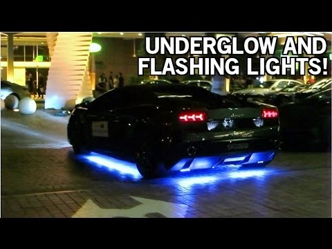 Modified Lamborghini Gallardo With Underglow and Flashing Lights!