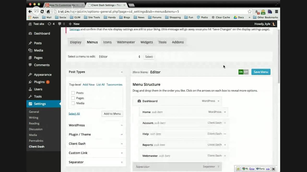 how to create menu in wordpress admin