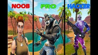 HACKER VS NOOB VS PRO EM FORTNITE 😱!
