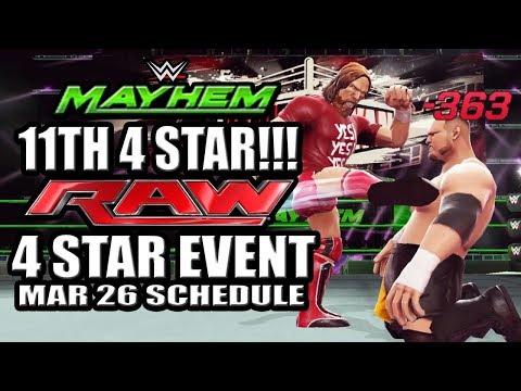 WWE Mayhem - 11th 4 Star Superstar!!! LOL, Raw 4 Star Event, March 26 Event Schedule
