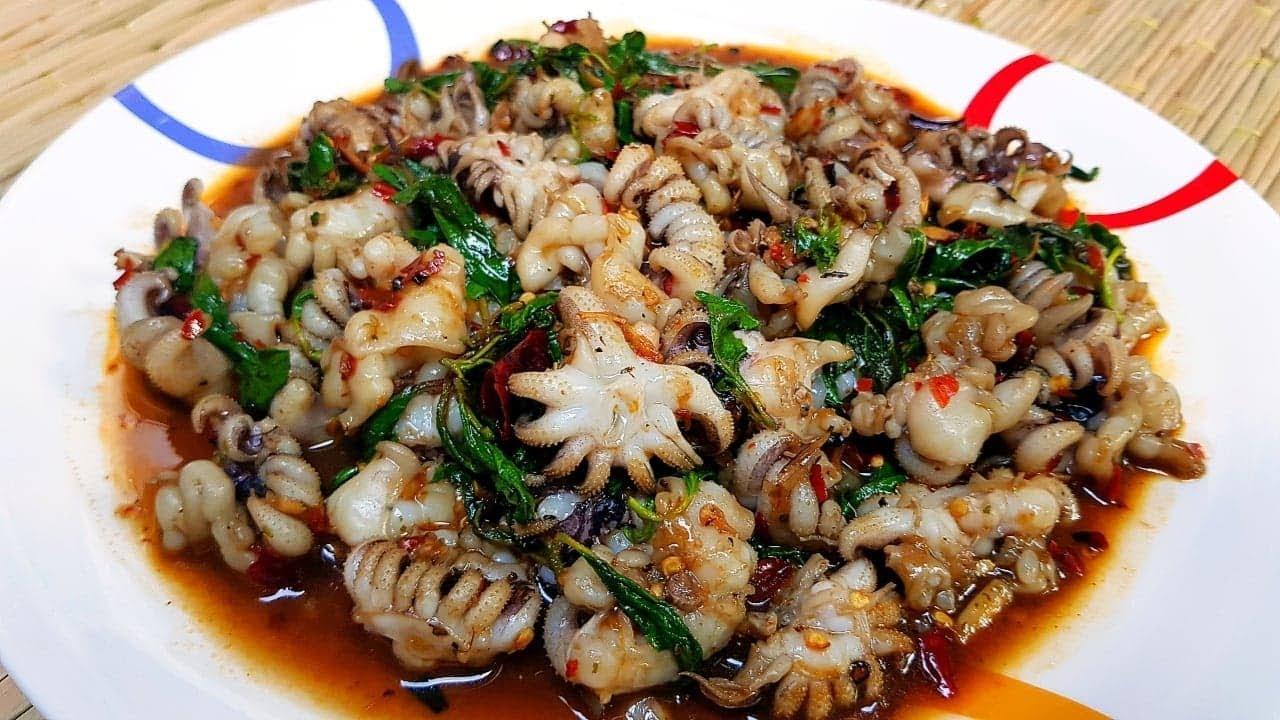 กับข้าวกับปลาโอ 579 : ผัดกะเพราพริกแห้งหนวดหมึก ผัดเผ็ดๆ หอมใบกะเพรา  stir-fried squid \u0026 holy basil