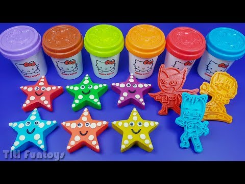 6 Cute Starfish Play Doh Play with PJ Mask Molds | PJ Masks Surprise Eggs