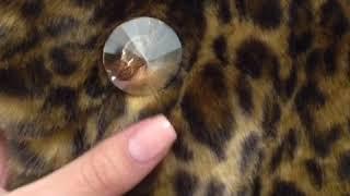 Эко шуба под леопард с пуговкой Swarovski