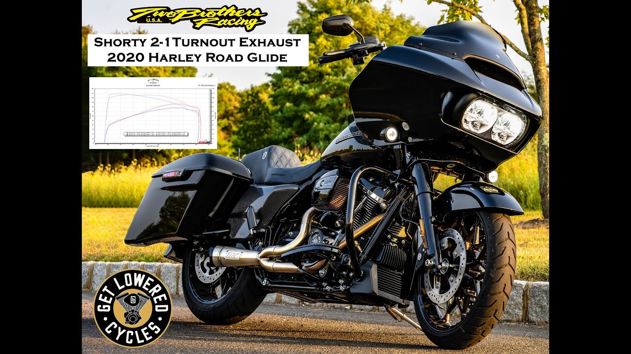 2020 harley road glide two brothers racing 2 1 shorty turnout exhaust sound clip dyno numbers