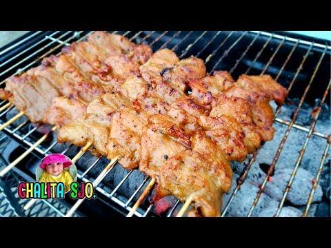 วิธีหมักหมูปิ้งให้อร่อยถึงเครื่อง   Thai BBQ pork skewers (Moo ping)   Chalita ม่ามี้เดือน