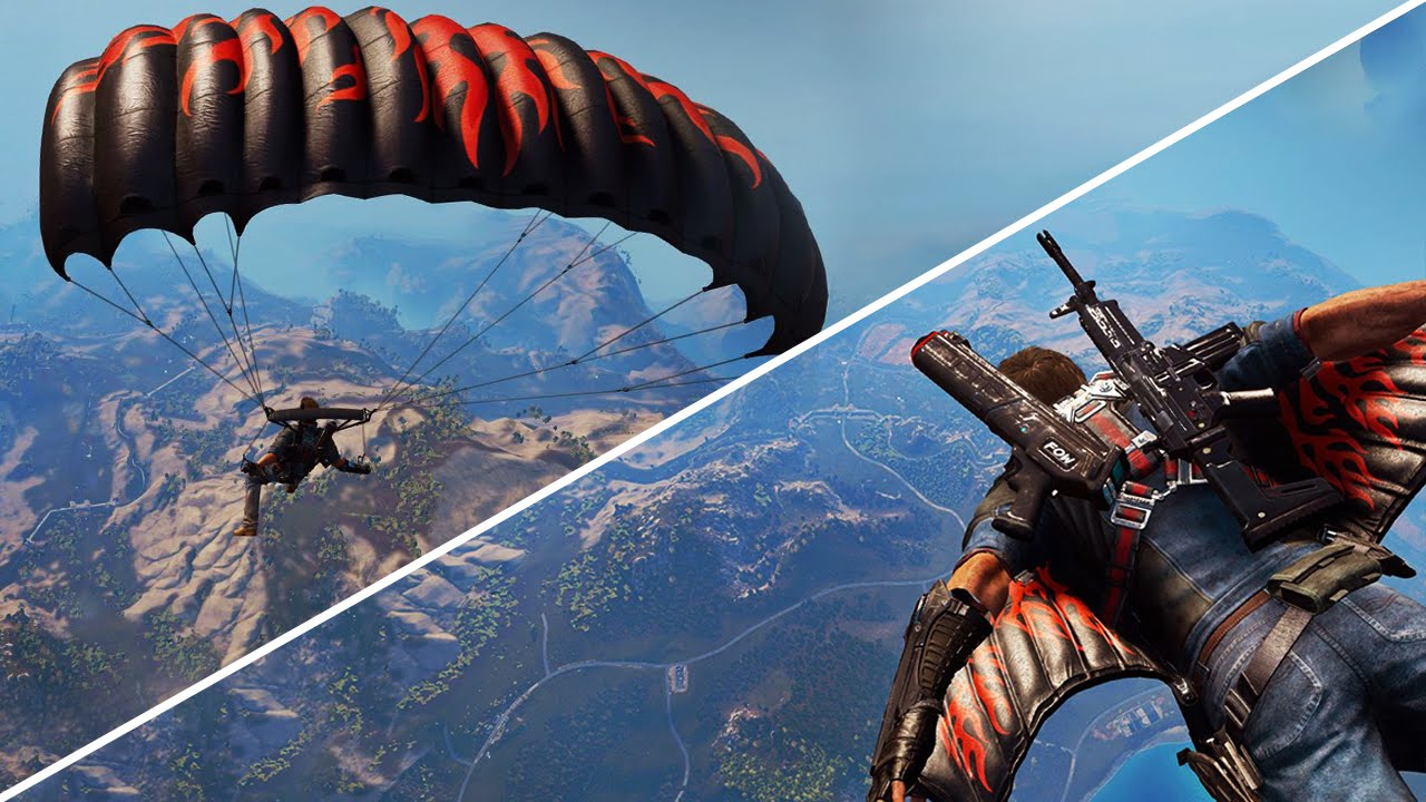 Just cause 3 how to equip flame wingsuit parachute skin youtube - Military wingsuit ...