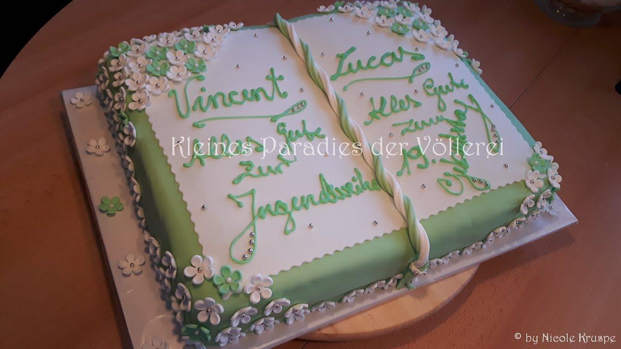 Buchtorte zur Jugendweihe  Geburtstag frhlingsfrisch