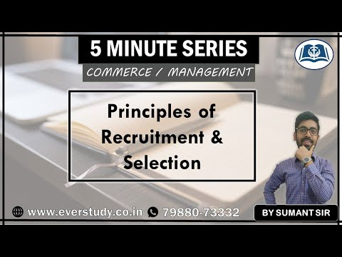 Principles of Recruitment and Selection   HRM   5 Minutes Series   UGC NET Commerce   Management