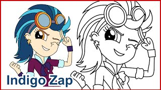 How to draw Indigo Zap Friendship Games MLP Equestria Girls step by step