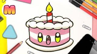 COMO DIBUJAR UNA TORTA KAWAII PASO A PASO - Cómo dibujar una tarta de cumpleaños
