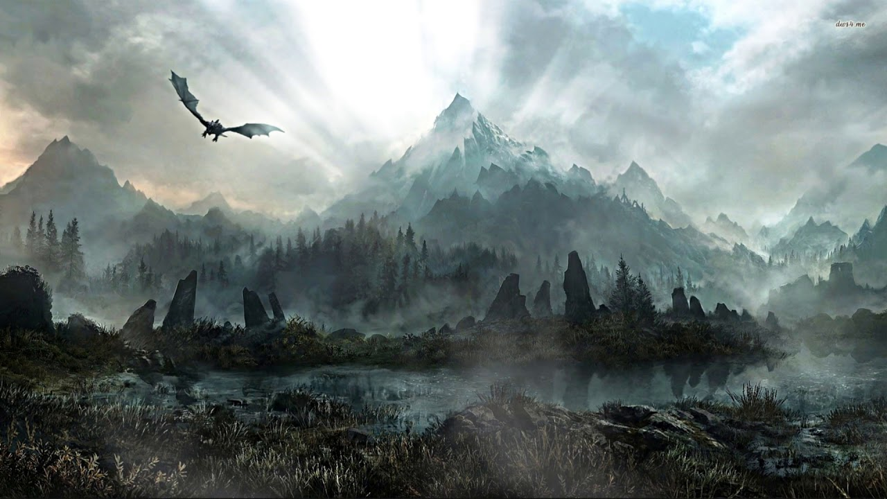 Skyrim Lake And Dragon Live Wallpaper