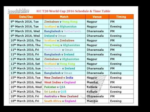 T20 World Cup 2016 Schedule & Time Table - YouTube