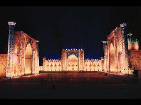 Uzbekistan, Samarkand, Registan. 3D show. Full ENGLISH version