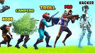 A FORTNITE PLAYER EVOLUTION! ( NOOB, CAMPERO, TROLL, PRO, HACKER) [FernandoCoC]