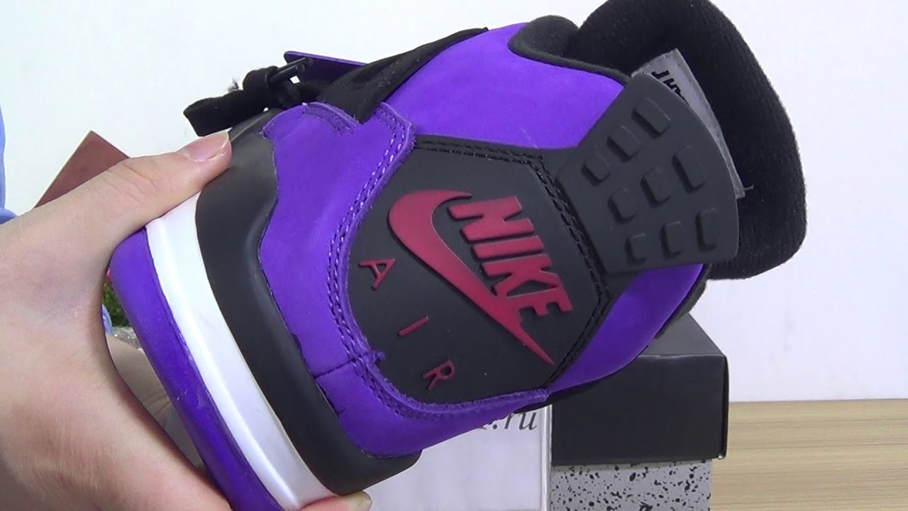 ae3f359a79a Authentic Travis Scott x Air Jordan 4 Purple - YouTube