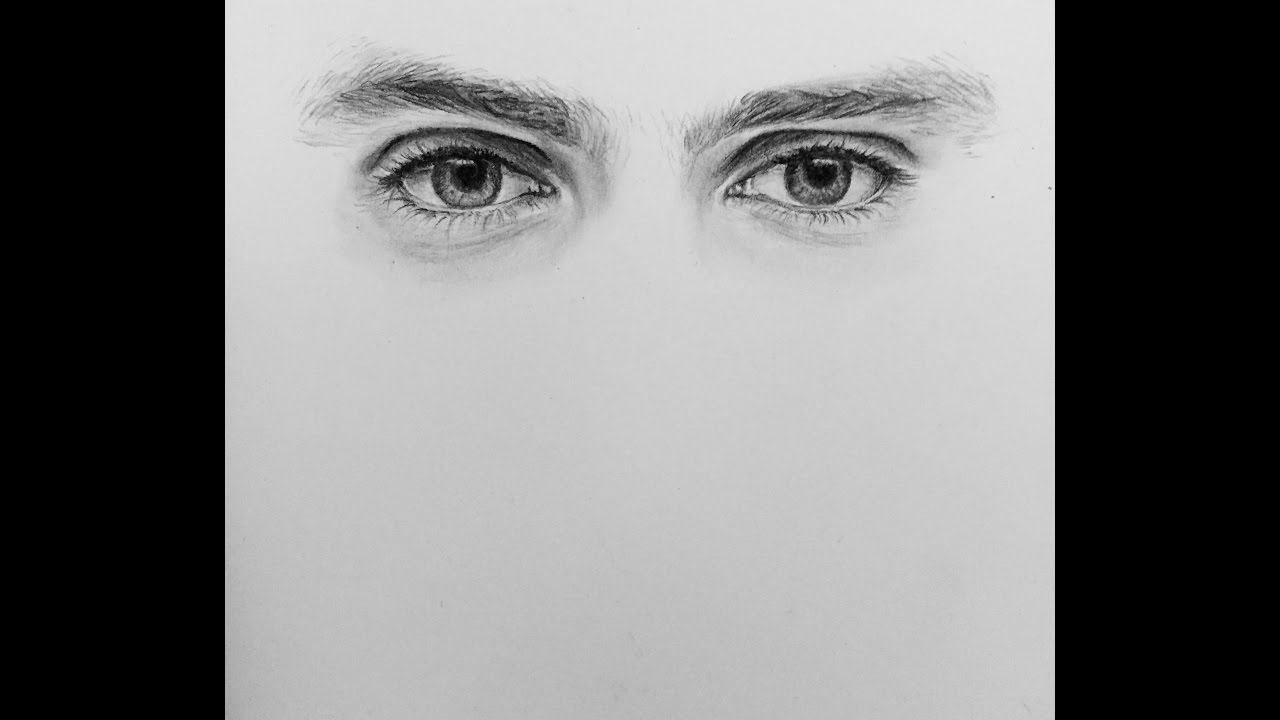 How to draw male realistic eyes - YouTube