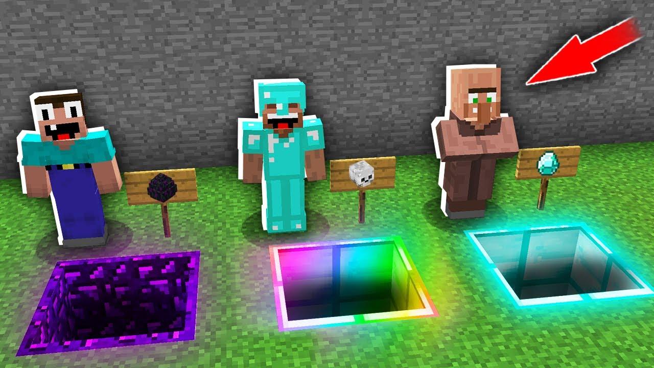 Minecraft NOOB vs PRO: CAN THE NOOB CHOOSE RIGHT PORTAL HOLE vs RAINBOW vs DIAMOND? 100% trolling