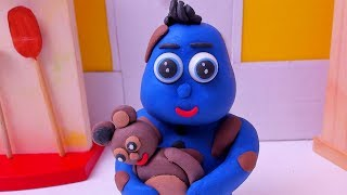 BLUE BABY TEDDY BEAR PLAYTIME - Stop Motion Animation Cartoons