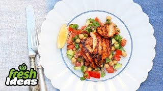 Bbq Tandoori Chicken With Chickpea & Cucumber Salad Recipe