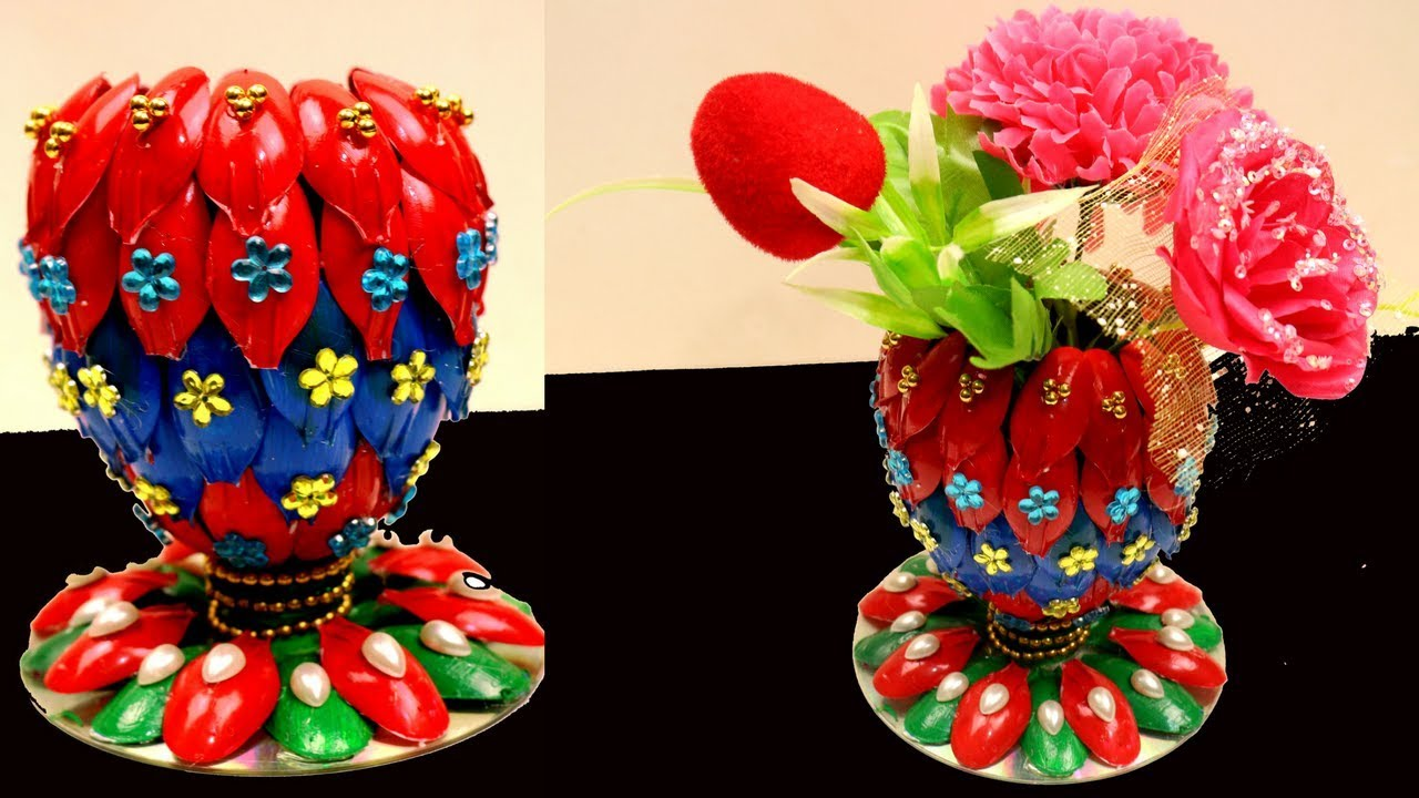 Diy Flower Vase Of Recycled Plastic Spoons Recycling Art And