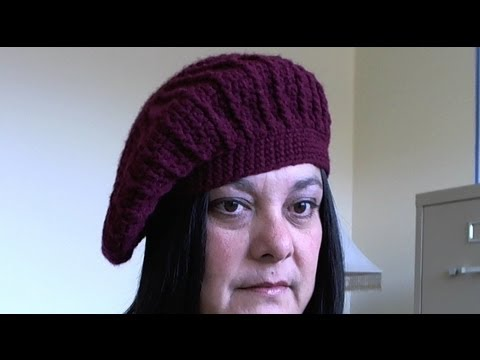 How to crochet Beret - slouchy beanie - tambien en Espanol - YouTube fbf99205dc1f