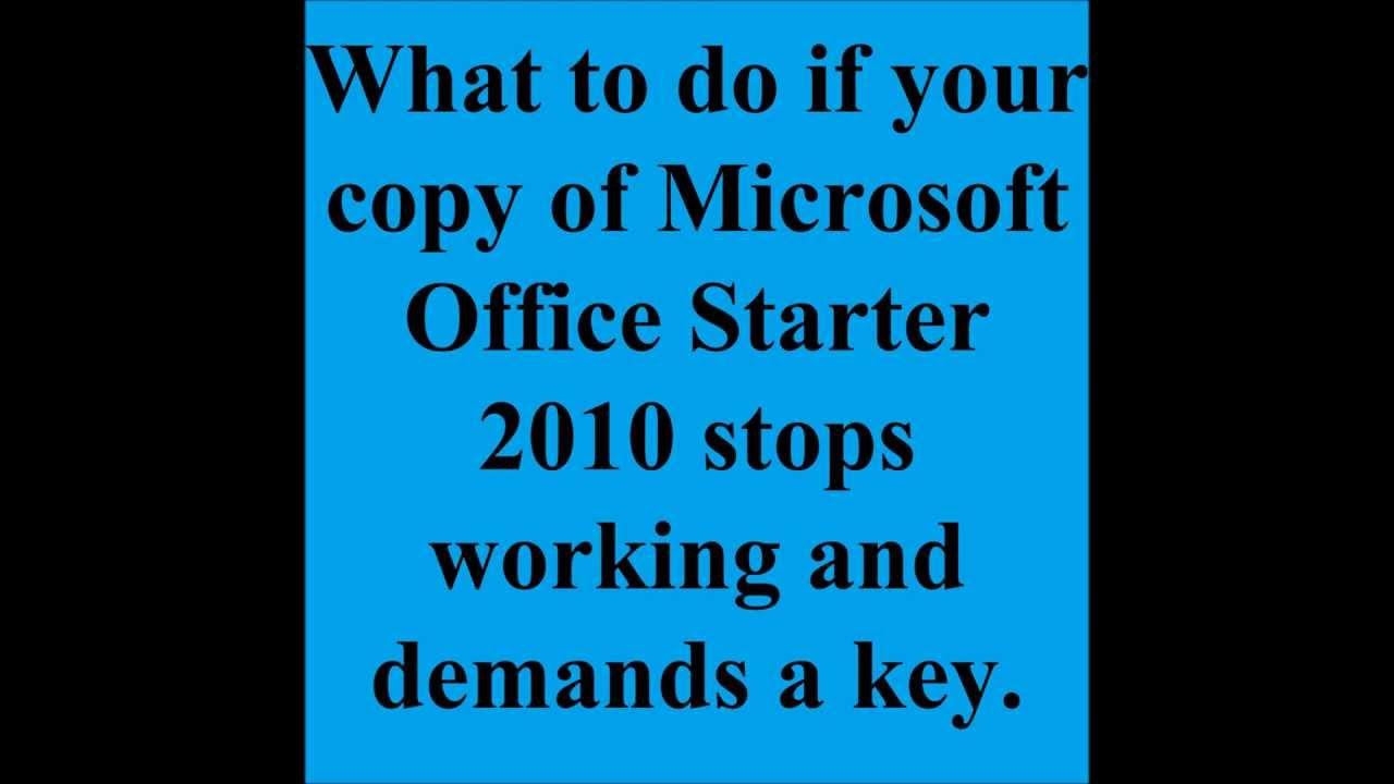 microsoft windows starter 2010 cannot be opened
