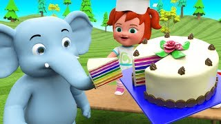 Elephant Eating Cakes Little Baby Girl Fun Cooking Cake - Learn Colors for Kids Toys Educational