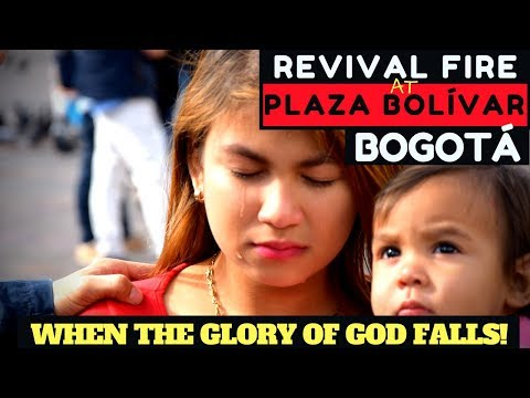 Revival fire and many souls saved while preaching at Plaza de Bolivar in Bogota, Colombia!
