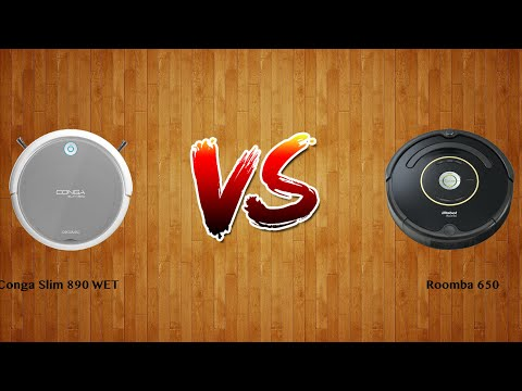 Conga Slim 890 WET vs Roomba 650   -  Robot Vacuum Comparison