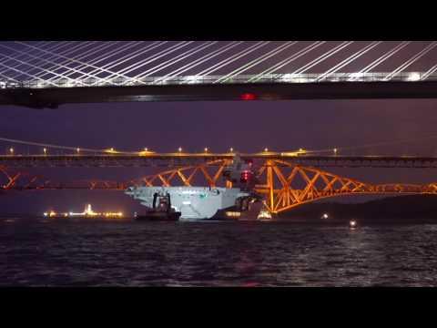 HMS Queen Elizabeth night Transit Under Forth Bridge