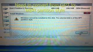 Downgrade windows 8 to Windows 7 Acer Aspire E1-531