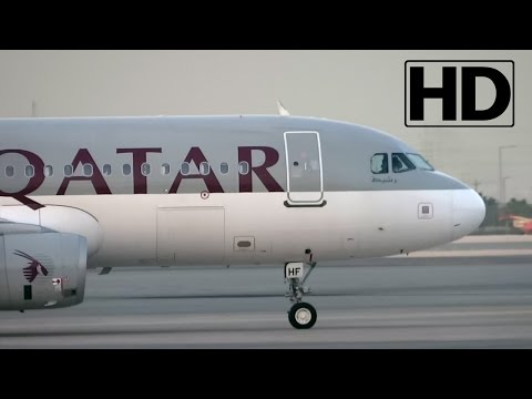 HD CloseUP | Qatar Airways Airbus A320-232 Landing, Taxiing and Parking at Hamad Int'l Airport