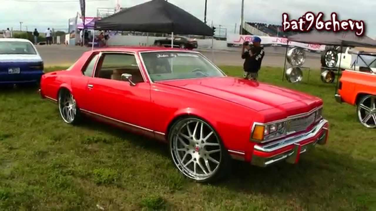 Red 1977 Chevy Caprice Aerocoupe Squatting On 26