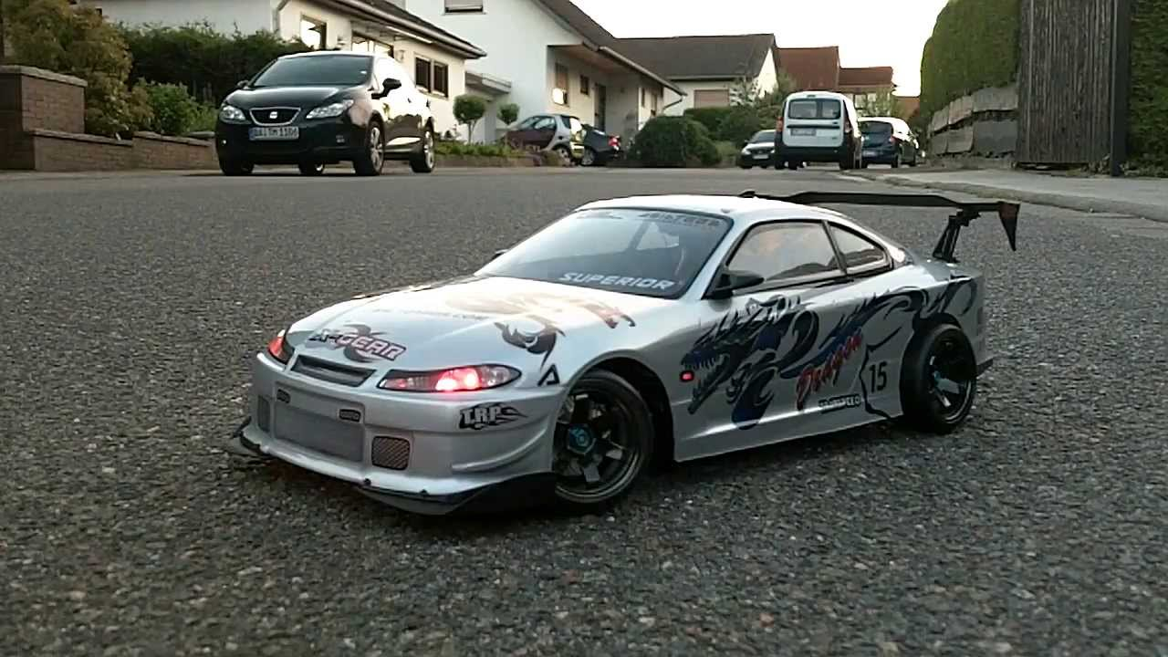 1 10 rc nissan silvia s15 drift body with full led lights. Black Bedroom Furniture Sets. Home Design Ideas