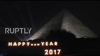 Egypt: New Year's Eve fireworks light up the Giza Pyramids