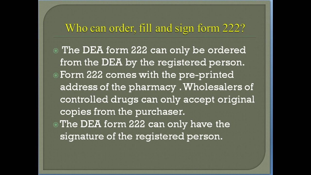 RXSchool Episode 16 -How to order C-II drugs using the DEA form ...