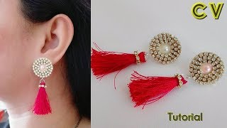 How to make silk thread earrings / Silk thread tassel  earrings / Silk thread jewellery making