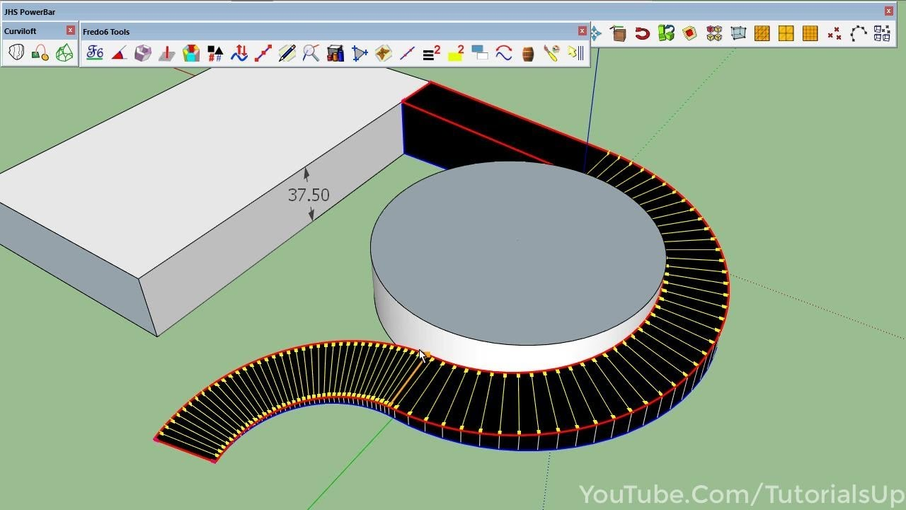 Curved Ramp in SketchUp | SketchUp Quick Tip by TutorialsUp