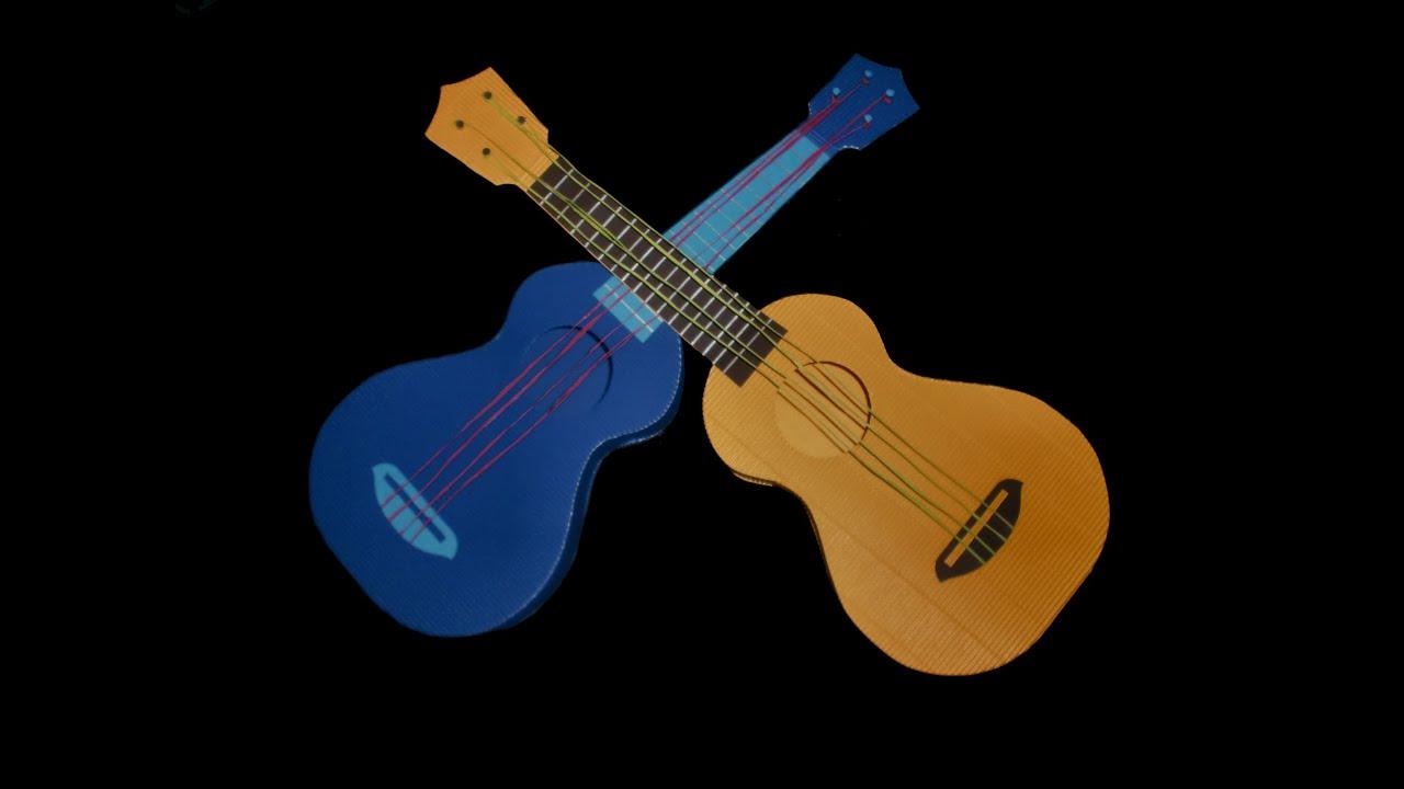 Vintage Karten Selber Basteln : Gitarre aus Papier  Bastelanleitung mit Schablone  YouTube