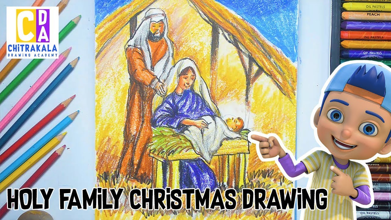 Holy Family Christmas Drawing II  Christmas scenery drawing 2018