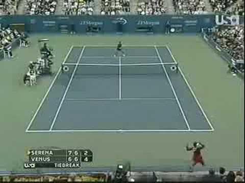 Serena vs. Venus In 2008 US Open Tennis - Incredible Point!