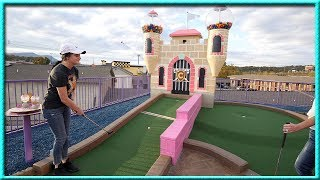 ONCE IN A LIFETIME TRIPLE HOLE IN ONE AT AN AMAZING MINI GOLF COURSE! | Brooks Holt