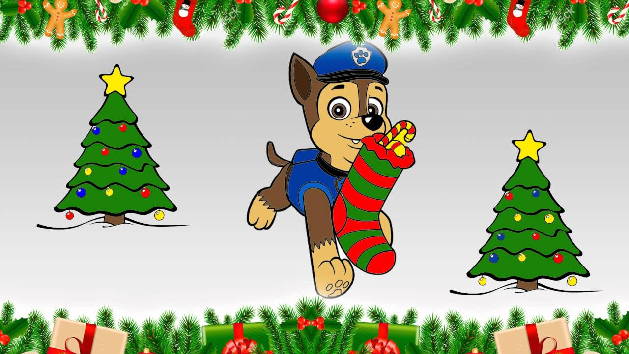 paw patrol coloring book merry christmas  Сhase