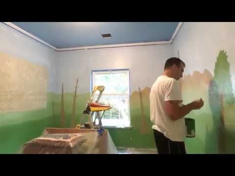 Painting a Dinosaur Theme for my Son's Room (time-lapse)