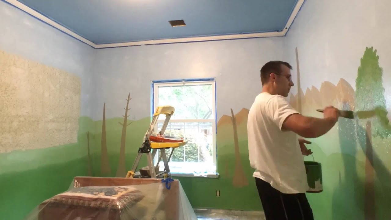 Painting A Dinosaur Theme For My Sons Room Time Lapse